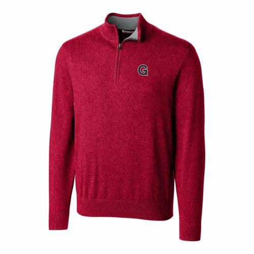 CUTTER & BUCK ゴンザガ ロゴ 赤 カーディナル メンズファッション コート ジャケット メンズ 【 Gonzaga Bulldogs Cutter And Buck Lakemont Vault Logo 1/2-zip Jacket - Cardinal 】 Cardinal