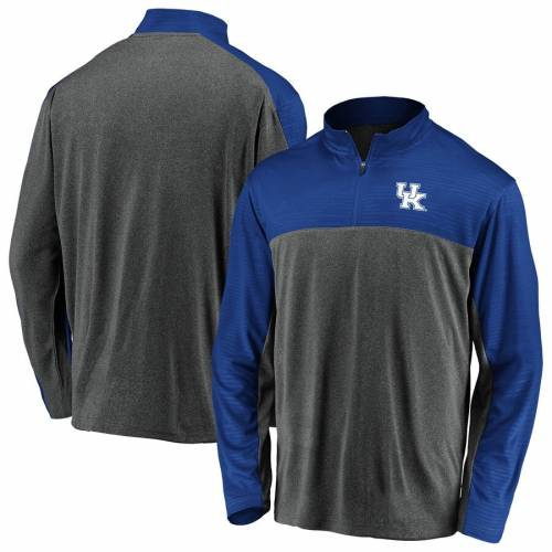 FANATICS BRANDED ケンタッキー メンズファッション コート ジャケット メンズ 【 Kentucky Wildcats Mock Neck Quarter-zip Pullover Jacket - Charcoal/royal 】 Charcoal/royal