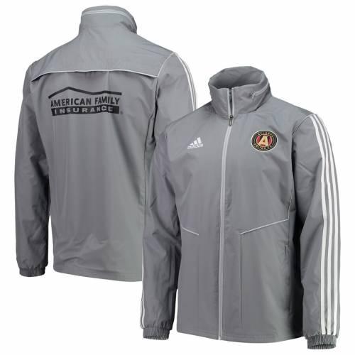 アディダス ADIDAS アトランタ 灰色 グレー グレイ メンズファッション コート ジャケット メンズ 【 Atlanta United Fc Full Zip Rain Jacket - Gray 】 Gray