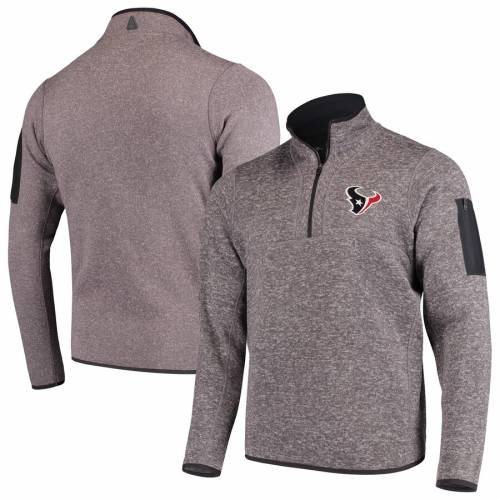 ANTIGUA ヒューストン テキサンズ チャコール メンズファッション コート ジャケット メンズ 【 Houston Texans Fortune Quarter-zip Pullover Jacket - Charcoal 】 Charcoal