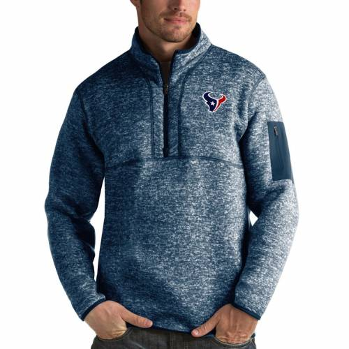 ANTIGUA ヒューストン テキサンズ チャコール メンズファッション コート ジャケット メンズ 【 Houston Texans Fortune Quarter-zip Pullover Jacket - Charcoal 】 Heather Navy