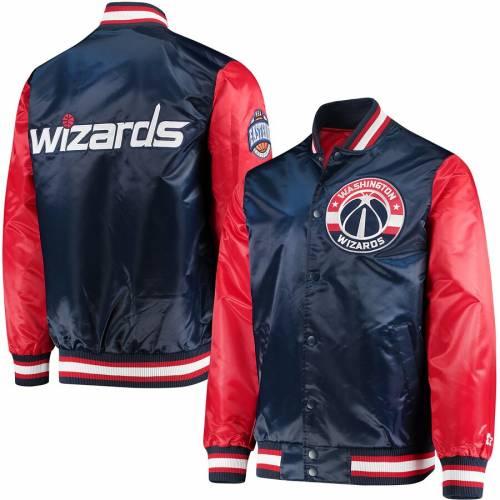スターター STARTER ワシントン ウィザーズ サテン メンズファッション コート ジャケット メンズ 【 Washington Wizards Satin Full-snap Jacket - Navy/red 】 Navy/red