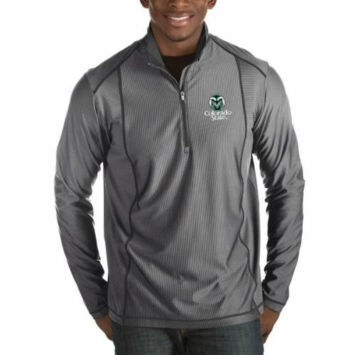 ANTIGUA コロラド スケートボード ラムズ 黒 ブラック メンズファッション コート ジャケット メンズ 【 Colorado State Rams Tempo Half-zip Pullover Big And Tall Jacket - Black 】 Charcoal