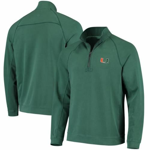TOMMY BAHAMA マイアミ コア 緑 グリーン メンズファッション コート ジャケット メンズ 【 Miami Hurricanes Ben And Terry Coast Core Half-zip Pullover Jacket - Green 】 Green