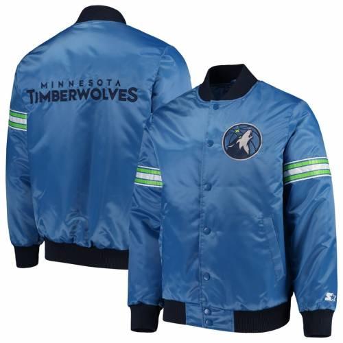 スターター STARTER ミネソタ ティンバーウルブズ サテン 青 ブルー メンズファッション コート ジャケット メンズ 【 Minnesota Timberwolves The Draft Pick Varsity Satin Full-snap Jacket - Blue 】 Blue