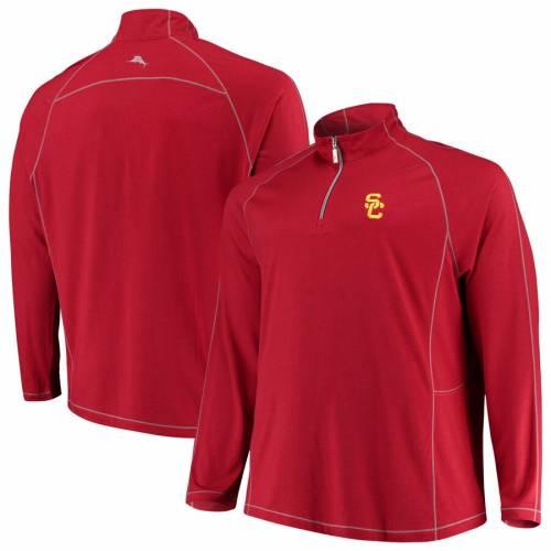 TOMMY BAHAMA ラグラン 赤 カーディナル メンズファッション コート ジャケット メンズ 【 Usc Trojans Big And Tall Goalkeeper Quarter-zip Raglan Pullover Jacket - Cardinal 】 Cardinal