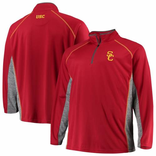 PROFILE VARSITY ラグラン メンズファッション コート ジャケット メンズ 【 Usc Trojans Big And Tall Quarter-zip Raglan Jacket - Cardinal/charcoal 】 Cardinal/charcoal