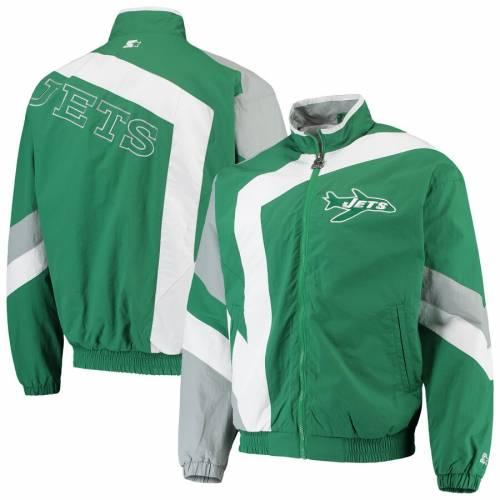 スターター STARTER ジェッツ メンズファッション コート ジャケット メンズ 【 New York Jets Throwback Star Full-zip Jacket - Green/white 】 Green/white