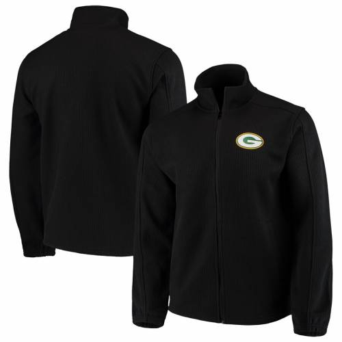 G-III SPORTS BY CARL BANKS 緑 グリーン パッカーズ フリース 黒 ブラック メンズファッション コート ジャケット メンズ 【 Green Bay Packers Qr Audible Full-zip Fleece Jacket - Black 】 Black