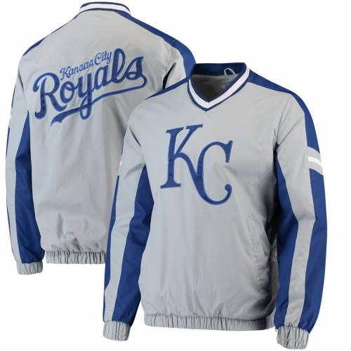 G-III SPORTS BY CARL BANKS カンザス シティ ロイヤルズ ブイネック 灰色 グレー グレイ メンズファッション コート ジャケット メンズ 【 Kansas City Royals Draft Pick V-neck Pullover Jacket - Gray 】 Gray