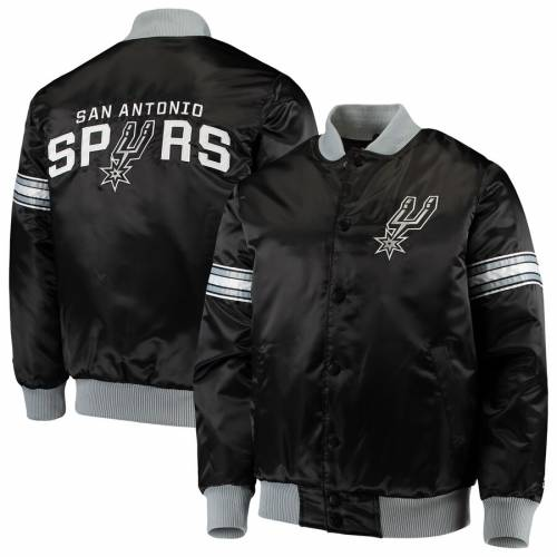 スターター STARTER スパーズ サテン 黒 ブラック メンズファッション コート ジャケット メンズ 【 San Antonio Spurs The Draft Pick Varsity Satin Full-snap Jacket - Black 】 Black