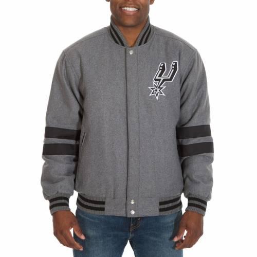 JH DESIGN スパーズ リバーシブル 灰色 グレー グレイ メンズファッション コート ジャケット メンズ 【 San Antonio Spurs Reversible Full-snap Wool Jacket - Gray 】 Gray
