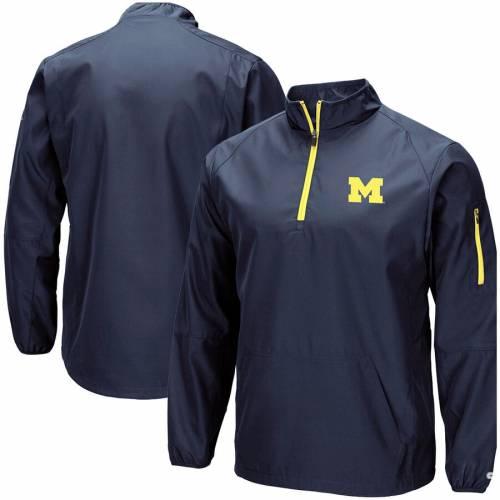 COLOSSEUM ミシガン 紺 ネイビー メンズファッション コート ジャケット メンズ 【 Michigan Wolverines Tips Half-zip Wind Jacket - Navy 】 Navy