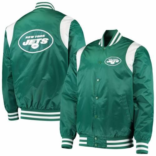 スターター STARTER ジェッツ タイム サテン メンズファッション コート ジャケット メンズ 【 New York Jets Prime Time Twill Satin Varsity Full-snap Jacket - Green/white 】 Green/white
