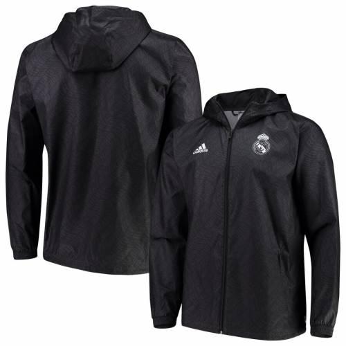 アディダス ADIDAS クラブ ウィンドブレーカー 黒 ブラック メンズファッション コート ジャケット メンズ 【 Real Madrid Club Full-zip Windbreaker Jacket - Black 】 Black