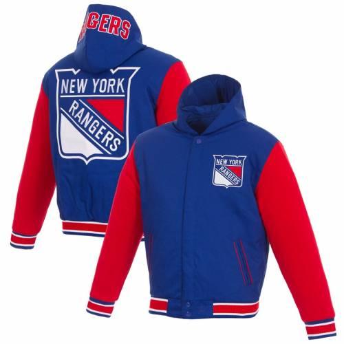 JH DESIGN レンジャーズ リバーシブル メンズファッション コート ジャケット メンズ 【 New York Rangers Reversible Poly-twill Jacket - Royal/red 】 Royal/red