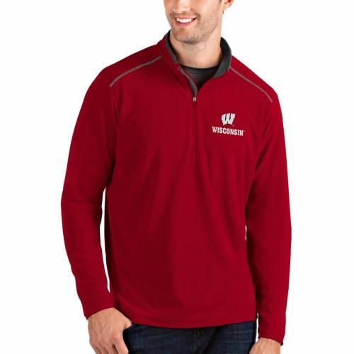 ANTIGUA ウィスコンシン メンズファッション コート ジャケット メンズ 【 Wisconsin Badgers Glacier Quarter-zip Pullover Jacket - Gray/charcoal 】 Red