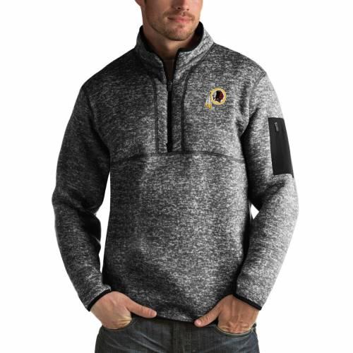 ANTIGUA ワシントン レッドスキンズ チャコール メンズファッション コート ジャケット メンズ 【 Washington Redskins Fortune Big And Tall Quarter-zip Pullover Jacket - Charcoal 】 Heather Black