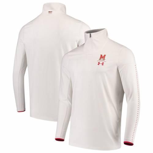 アンダーアーマー UNDER ARMOUR メリーランド サイドライン パフォーマンス 白 ホワイト メンズファッション コート ジャケット メンズ 【 Maryland Terrapins 2018 Sideline Performance 1/4 Zip Jacket - Whi