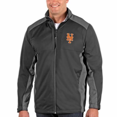 ANTIGUA メッツ 黒 ブラック メンズファッション コート ジャケット メンズ 【 New York Mets Revolve Big And Tall Full-zip Jacket - Black 】 Charcoal