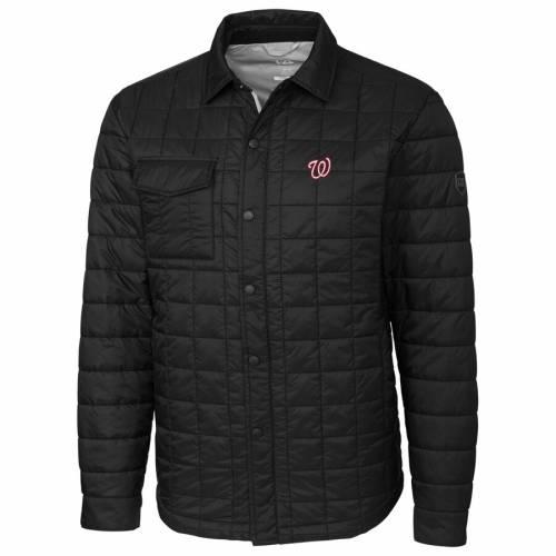 CUTTER & BUCK ワシントン ナショナルズ 黒 ブラック メンズファッション コート ジャケット メンズ 【 Washington Nationals Cutter And Buck Rainier Shirt Full-zip Jacket - Black 】 Black