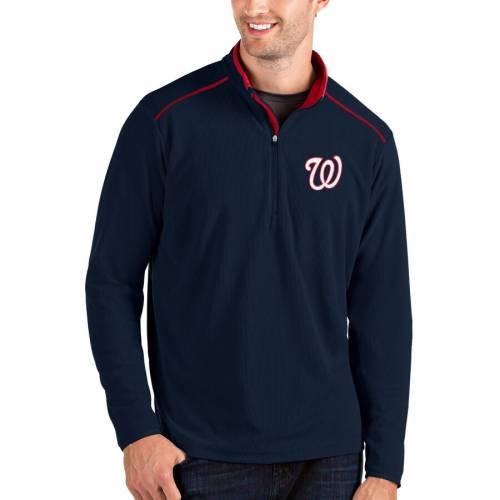 ANTIGUA ワシントン ナショナルズ 灰色 グレー グレイ メンズファッション コート ジャケット メンズ 【 Washington Nationals Glacier Quarter-zip Pullover Jacket - Gray 】 Navy