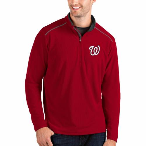 ANTIGUA ワシントン ナショナルズ 灰色 グレー グレイ メンズファッション コート ジャケット メンズ 【 Washington Nationals Glacier Quarter-zip Pullover Jacket - Gray 】 Red