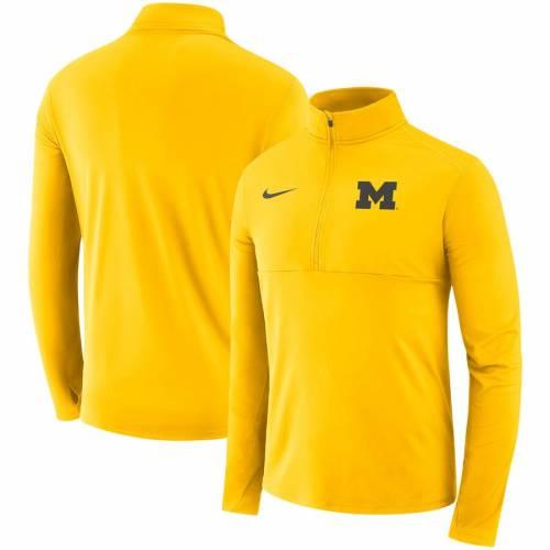 ナイキ NIKE ミシガン コア メンズファッション コート ジャケット メンズ 【 Michigan Wolverines Core Half-zip Pullover Jacket - Maize 】 Maize
