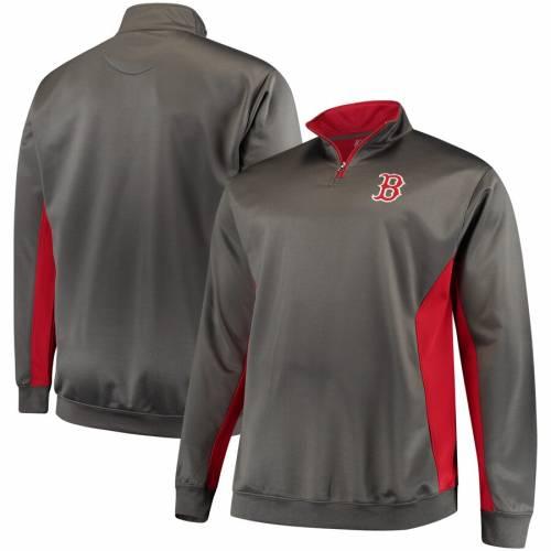 マジェスティック MAJESTIC ボストン 赤 レッド フリース メンズファッション コート ジャケット メンズ 【 Boston Red Sox Fleece Pullover Quarter-zip Jacket - Charcoal/red 】 Charcoal/red