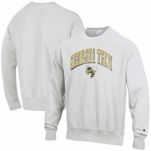 チャンピオン CHAMPION テック 黄色 イエロー ロゴ リベンジ 灰色 グレー グレイ メンズファッション コート ジャケット メンズ 【 Georgia Tech Yellow Jackets Arch Over Logo Reverse Weave Pullover Sweatshir