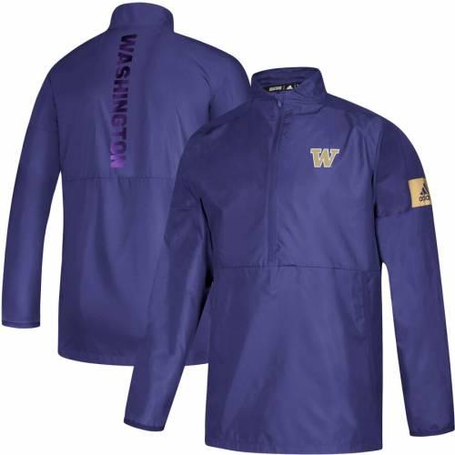 アディダス ADIDAS ワシントン サイドライン ゲーム 紫 パープル メンズファッション コート ジャケット メンズ 【 Washington Huskies 2019 Sideline Game Mode Quarter-zip Jacket - Purple 】 Purple