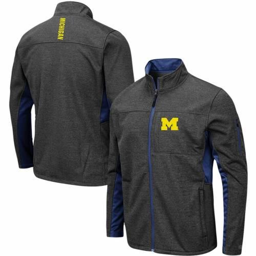 COLOSSEUM ミシガン チャコール メンズファッション コート ジャケット メンズ 【 Michigan Wolverines Big And Tall Bumblebee Full-zip Jacket - Heathered Charcoal 】 Heathered Charcoal