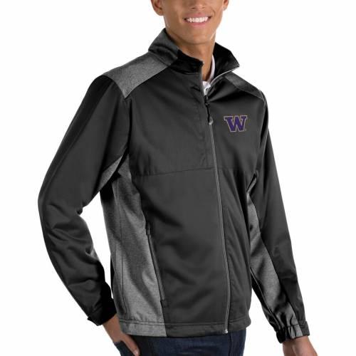 ANTIGUA ワシントン 黒 ブラック メンズファッション コート ジャケット メンズ 【 Washington Huskies Revolve Full-zip Jacket - Black 】 Black