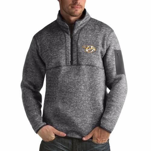 ANTIGUA チャコール メンズファッション コート ジャケット メンズ 【 Nashville Predators Fortune 1/2-zip Pullover Jacket - Charcoal 】 Charcoal