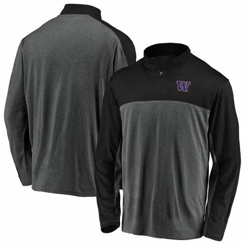FANATICS BRANDED ワシントン メンズファッション コート ジャケット メンズ 【 Washington Huskies Mock Neck Quarter-zip Pullover Jacket - Charcoal/black 】 Charcoal/black