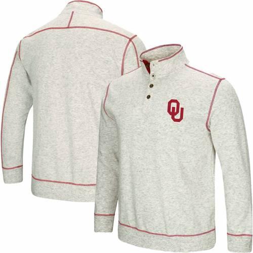 COLOSSEUM 灰色 グレー グレイ メンズファッション コート ジャケット メンズ 【 Oklahoma Sooners Bourbon Bowl 1/2-button Up Jacket - Heathered Gray 】 Heathered Gray