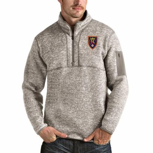 ANTIGUA メンズファッション コート ジャケット メンズ 【 Real Salt Lake Fortune Quarter-zip Pullover Jacket - Tan 】 Tan