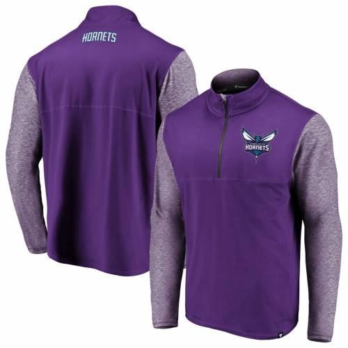 FANATICS BRANDED シャーロット ホーネッツ パフォーマンス 紫 パープル メンズファッション コート ジャケット メンズ 【 Charlotte Hornets Made To Move Static Performance Quarter-zip Pullover Jacket - Purple/he