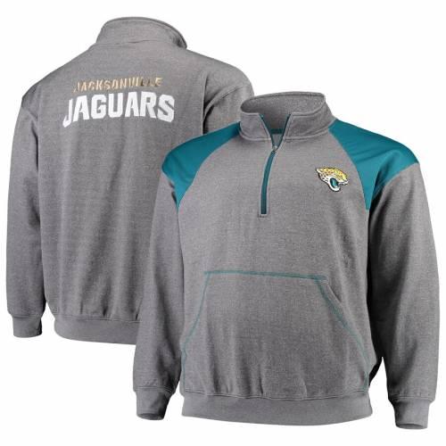PROFILE ジャクソンビル ジャガース メンズファッション コート ジャケット メンズ 【 Jacksonville Jaguars Big And Tall Mesh Yoke Quarter-zip Jacket - Charcoal/teal 】 Charcoal/teal
