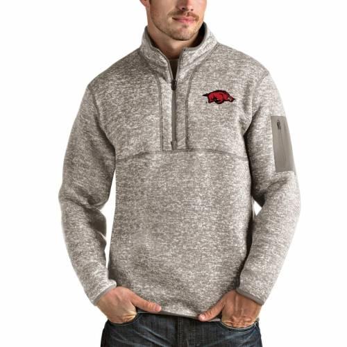 ANTIGUA メンズファッション コート ジャケット メンズ 【 Arkansas Razorbacks Fortune Half-zip Pullover Jacket - Oatmeal 】 Oatmeal