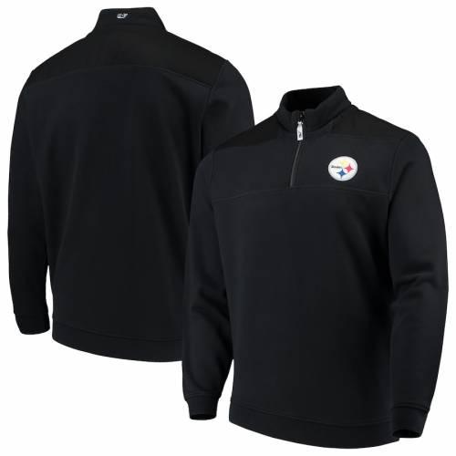 VINEYARD VINES ピッツバーグ スティーラーズ 黒 ブラック メンズファッション コート ジャケット メンズ 【 Pittsburgh Steelers Shep Shirt Quarter-zip Jacket - Black 】 Black