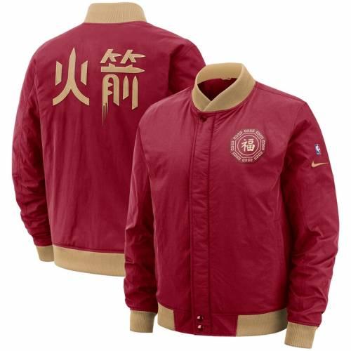 ナイキ NIKE ヒューストン ロケッツ シティ 赤 レッド メンズファッション コート ジャケット メンズ 【 Houston Rockets City Edition Courtside Full-zip Bomber Jacket - Red 】 Red