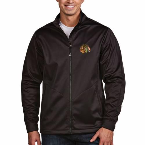ANTIGUA シカゴ ゴルフ 黒 ブラック メンズファッション コート ジャケット メンズ 【 Chicago Blackhawks Full Zip Golf Jacket - Black 】 Black