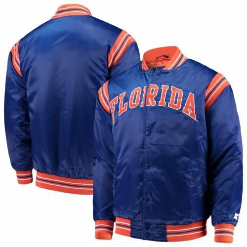 スターター STARTER フロリダ サテン メンズファッション コート ジャケット メンズ 【 Florida Gators The Enforcer Satin Full-button Jacket - Royal 】 Royal