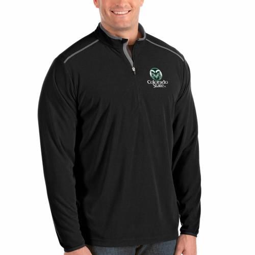 ANTIGUA コロラド スケートボード ラムズ メンズファッション コート ジャケット メンズ 【 Colorado State Rams Big And Tall Glacier Half-zip Pullover Jacket - Black/gray 】 Black