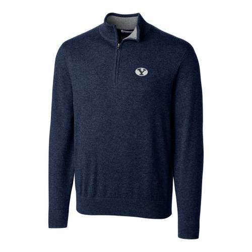 CUTTER & BUCK ブリガムヤング ヘザー チャコール メンズファッション コート ジャケット メンズ 【 Byu Cougars Cutter And Buck Big And Tall Lakemont Half-zip Jacket - Heather Charcoal 】 Navy