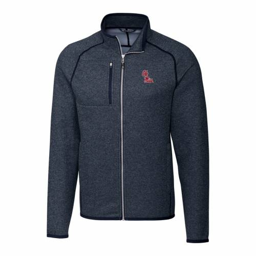 CUTTER & BUCK 紺 ネイビー メンズファッション コート ジャケット メンズ 【 Ole Miss Rebels Cutter And Buck Mainsail Full-zip Jacket - Navy 】 Navy