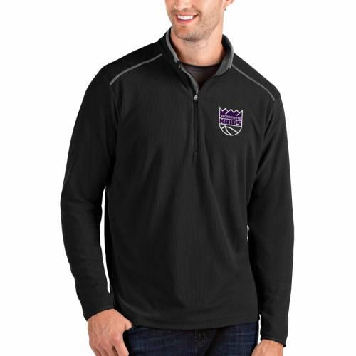 ANTIGUA サクラメント キングス メンズファッション コート ジャケット メンズ 【 Sacramento Kings Glacier Quarter-zip Pullover Jacket - Black/gray 】 Black