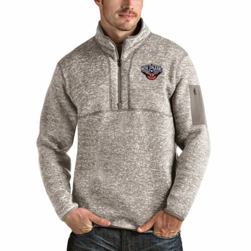 ANTIGUA ナチュラル メンズファッション コート ジャケット メンズ 【 New Orleans Pelicans Fortune Quarter-zip Pullover Jacket - Natural 】 Natural