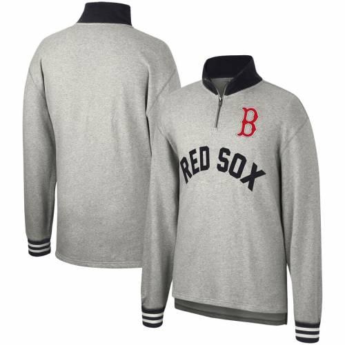 ミッチェル&ネス MITCHELL & NESS ボストン 赤 レッド ビクトリー 灰色 グレー グレイ メンズファッション コート ジャケット メンズ 【 Boston Red Sox Mitchell And Ness Sealed The Victory Quarter-zip Pu